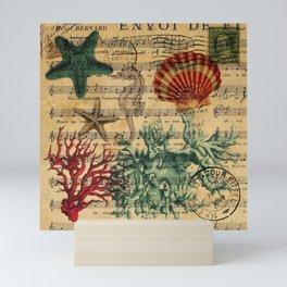 french botanical art music notes starfish seashell Mini Art Print