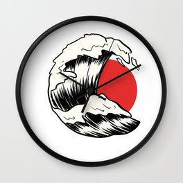 Japan Flag Wave Japanese Artist Gift Wall Clock