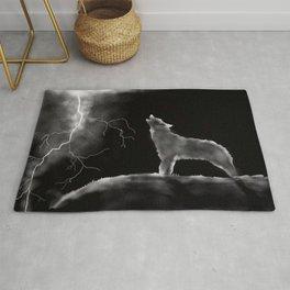 Wolf Lightening Black and White Rug