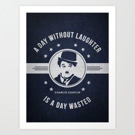 Charlie Chaplin - Navy Blue Art Print