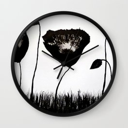 Black Poppies Wall Clock