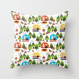 Campsite with caravans, campfire, camping chairs, trees, carpet, birds. Camping in the forest. Campground. RV. Camp night. Big scale. Throw Pillow
