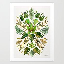 Tropical Symmetry – Olive Green Art Print
