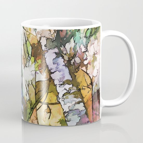 White Aspen and  Birch Trees Contemporary Art by olenaart