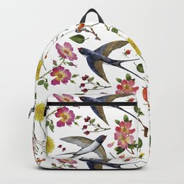 swallows and flowers of  wild rose Backpack