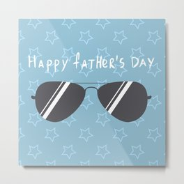 design template with sunglasses and stars pattern for father s day. Metal Print