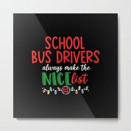 Christmas school bus driver, schoolbus Metal Print