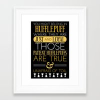hufflepuff Framed Art Prints featuring Hufflepuff by Dorothy Leigh