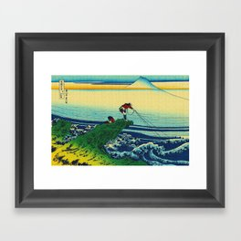 Vintage Japanese Art - Man Fishing Framed Art Print