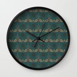 Nut Tree Floral Silk Sheet Embroidery Wall Clock