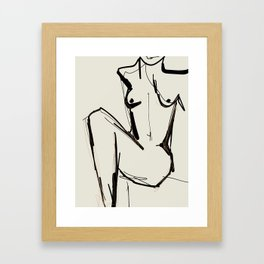 nude line abstract drawing Framed Art Print