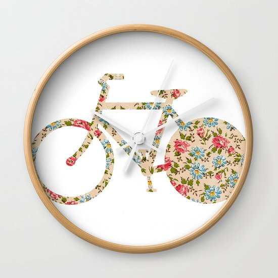 Whimsical cute girly floral retro bicycle Wall Clock