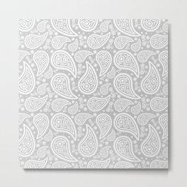Paisley (White & Gray Pattern) Metal Print