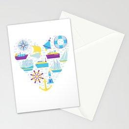 Nautical Heart Sailing Love Seaman Gift Stationery Cards