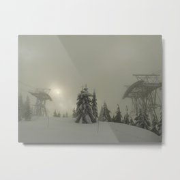 Grouse Mountain snowed out. Metal Print