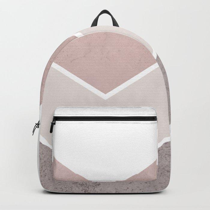 DARK BLUSH GRAY CONCRETE CHEVRON Backpack