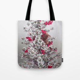 Beautiful Holiday Tree, Frosted Tree With Red Berries and Pine Cones Tote Bag