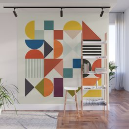 mid century retro shapes geometric Wall Mural