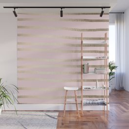 Drawn Stripes White Gold Sands on Flamingo Pink Wall Mural