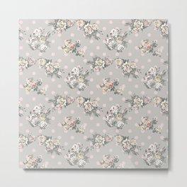 Vintage chic artistic pink ivory polka dots floral Metal Print