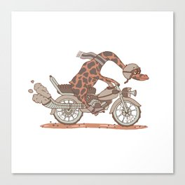 Giraffe on a motorbike Canvas Print