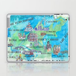 New Orleans Louisiana Favorite Travel Map with Touristic Highlights in colorful retro print Laptop & iPad Skin