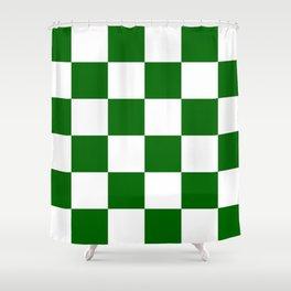 Large Checkered - White and Dark Green Shower Curtain