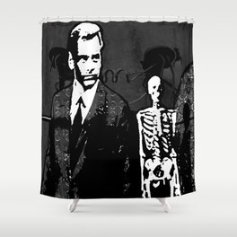 Dr. Hughes And The Skeleton In His Classroom Shower Curtain