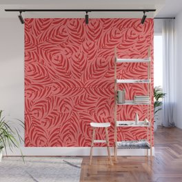Tropical Leaves Pattern (Red version) Wall Mural