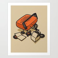record Art Prints featuring RECORD EATER by Letter_q