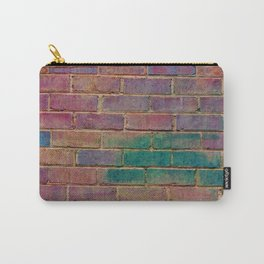 rainbow distressed painted brick wall ambient decor rustic brick effect Carry-All Pouch