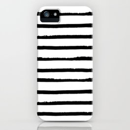 Hand Drawn Ink Horizontal Lines – Black and White iPhone Case