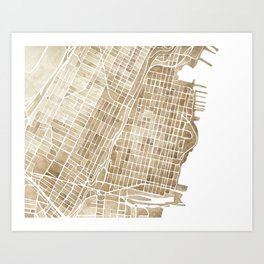 Hoboken New Jersey city map Art Print