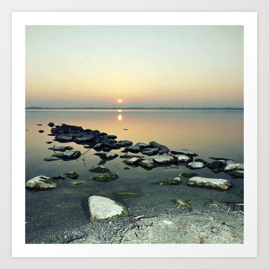 sunset sea stones Art Print