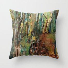 Morning Bike Ride Throw Pillow