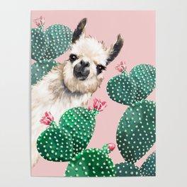 Llama and Cactus Pink Poster