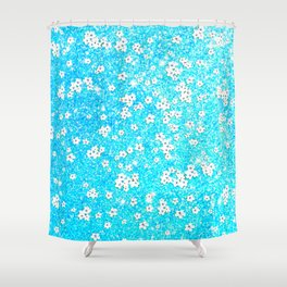 turquoise blue white floral pattern Shower Curtain
