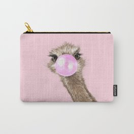 Sneaky Ostrich with Bubble Gum in Pink Carry-All Pouch