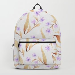 Watercolor lilac lavender brown hand painted floral illustration Backpack