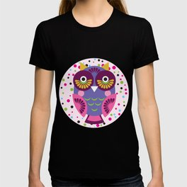 funny colored owls on a turquoise background T-shirt
