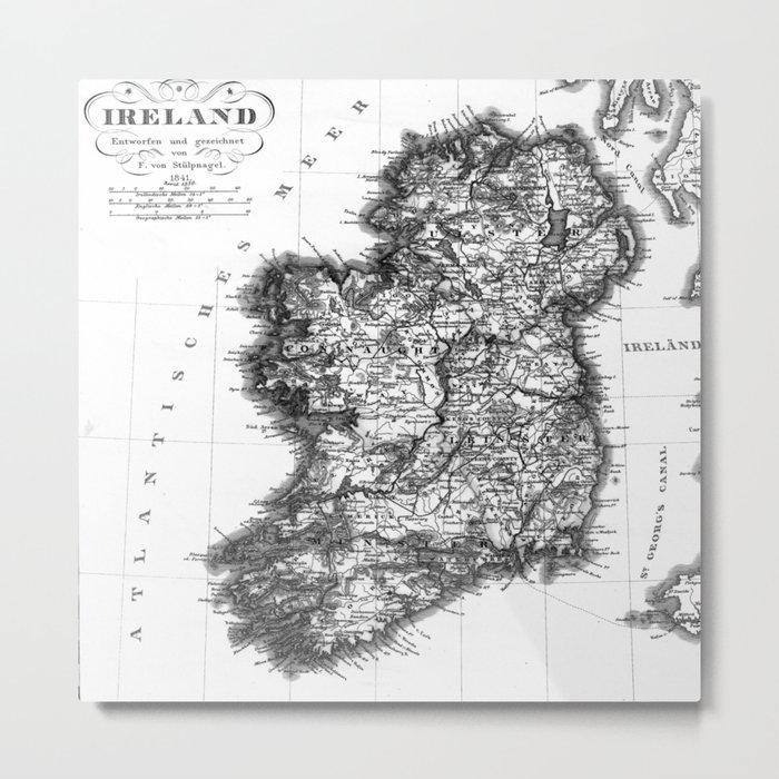 Vintage Black and White Ireland MAp Metal Print