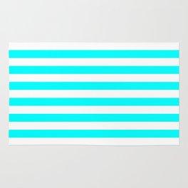 Horizontal Stripes (Aqua Cyan/White) Rug
