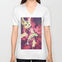 saga V-neck T-shirts featuring Galactic Cats Saga 2 by Carolina Nino