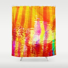 Burnt orange reflection on Lagoon Shower Curtain
