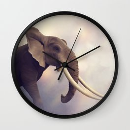 African Elephant Portrait .Digital painting Wall Clock