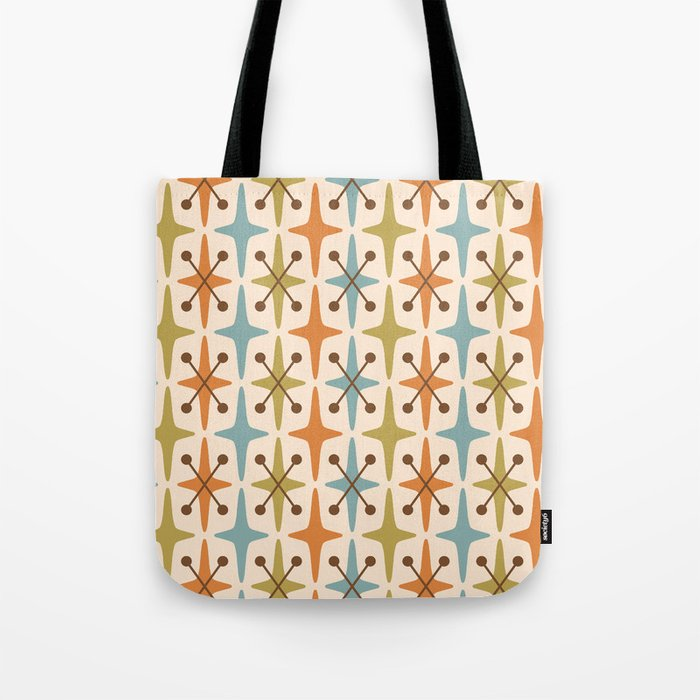 Mid Century Modern Abstract Star Pattern 441 Orange Brown Blue Olive Green Tote Bag