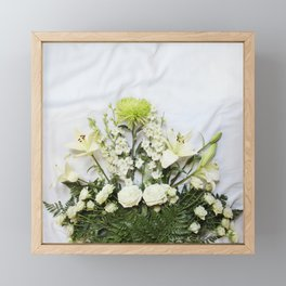 Green and Cream Flowers Framed Mini Art Print