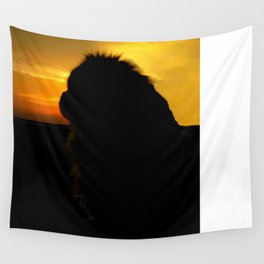 Lion dog sunset Wall Tapestry