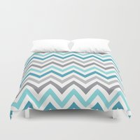 tina crespo Duvet Covers featuring TINA CHEVRON 2 by JUNE blossom