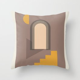 Moonlight Arc and Stairs. Abstract boho composition in modern nude colors. Wall-art geometric shapes design Throw Pillow
